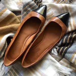Madewell Brown The Cap Black Toe Skimmer 8 Flats